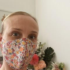 READY TO SHIP ~Cotton Face mask ~ Orange Floral~ 3 layers