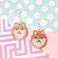Pomeranian Spitz Dog Resin Earrings Jewellery