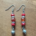 Carnelian & Swarovski Crystal Bead Gemstone Boho Dangle Earrings