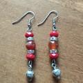 Carnelian & Swarovski Crystal Bead Gemstone Boho Dangle Earrings