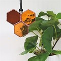 Honeycomb Mini Stained Glass Suncatcher 7x7cm - Add a Bee!