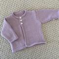 Lilac Cardigan  - Newborn -extra fine merino wool - Hand knitted