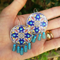 Recycled Coffee Pod Earrings with Blue Recycled Glass Drops