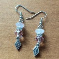 Rose Quartz & Swarovski Crystal Bead Gemstone Boho Dangle Earrings