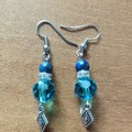 Lapis Lazuli & Swarovski Crystal Bead Gemstone Boho Dangle Earrings