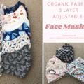 Organic cotton 3 layer face masks