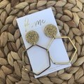 Recycled Gold Glitter Hexagon Dangles | Sustainable Fashion
