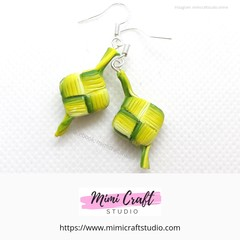 Ketupat Earrings, miniature food jewellery, Ramadan Eid AL Fitr