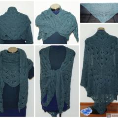 Magical Green/ Grey Virus meets V-stitch Shawl- FREE Shipping