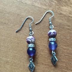 Crackle Sea Jasper, Russian Amethyst & Swarovski Crystal Bead Gemstone  Earrings