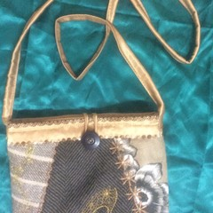 Fancy shoe  pouch - lined - hand made machine embroidered design.
