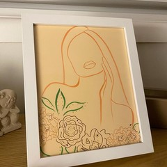 """Faceless Female"" Line Drawing Framed Artwork"