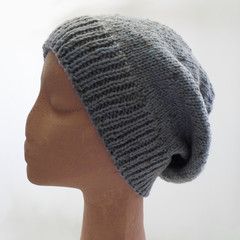 Unisex Gray Blue Slouchy Hat in Medium Adult Size Ready To Ship