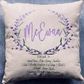 Cushion, custom made family tree. Lavender wreath on canvas print