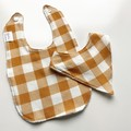Golden gingham bib/bandana set