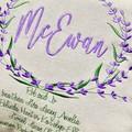 Cushion, custom made family tree. Lavender wreath on canvas print