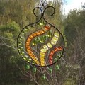 Green, yellow and orange rounded sun catcher