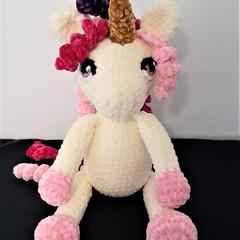 adorable, soft, velvet crocheted unicorn