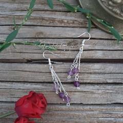 Semi precious purple bead earrings
