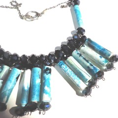 Necklace. Handmade Paper bead necklace with  in blue with Swarovski crystals
