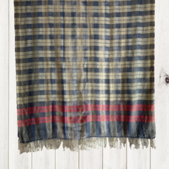 Check Unique Design Wool Jacquard Shawl with Tassles by Sen Saish #37