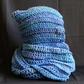 Hooded scarf in shades of blue with hints of purple and green - FREE SHIPPING