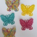 Set of 5 Free Standing Lace Butterflies - multi coloured