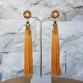 Luxe Swarovski crystal Tassel Drop Earrings | Olive and Mustard tones