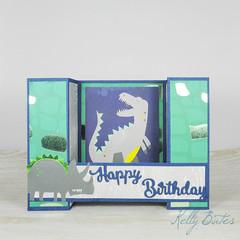 Happy Birthday, Dinosaur 3D card, U-Fold Card