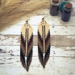 Long handmade statement beaded earrings