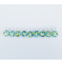 Knitting Stitch Markers in blue/green glitter