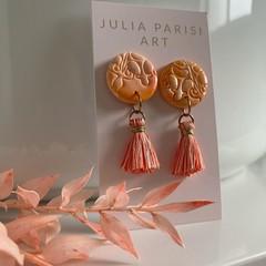 Orange Tassel and Polymer Clay Handmade Stud Earrings