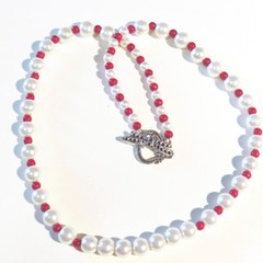 Necklace. Pearl necklace with small red beads. Elegant and simple. Versitle