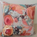 Burnt Orange, Sage & Cream Floral Cushion Cover