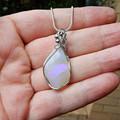 Australian Crystal Opal pendant, Sterling silver wire wrapped jelly opal