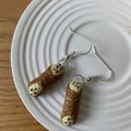 "Italian Treats ""Vanilla Cannoli"" Handmade Drop Earrings"