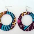 African Print Large Drop Earrings