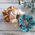 Scrunchies Set of 3- Wattle Ochre, Seeds, Blue Birds