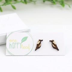 Magpie stud earrings - Australian bird studs, cute earrings, Australiana gif