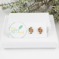 Cactus stud earrings - plant earrings, cactus jewellery, plant studs,