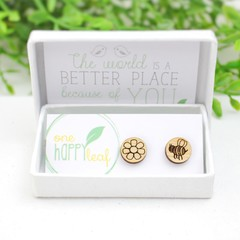 Bee and Flower studs - bee earrings mismatched