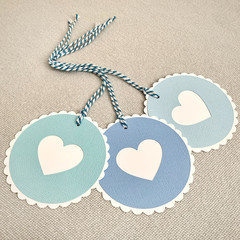 Set of 3 Round Scalloped Gift Tags with Heart - Shades of Blue