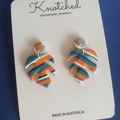 Navy blue/teal/orange/white/silver small dangles