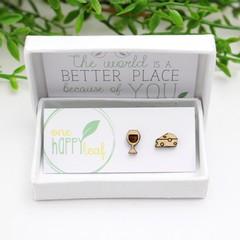 Wine and cheese earrings - wine lovers jewellery