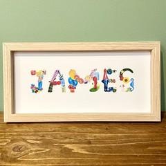 Personalised Name Frame, Baby Nursery Print, Hand-Painted Alphabet, Baby Art