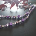Amethyst, Freshwater pearl and Sterling silver necklace