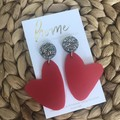 Recycled Red Glitter Organic Heart Dangles