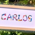 Baby Name Frame, Personalised Nursery Print, Hand-Painted Alphabet, Baby Art