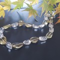 Lemon and Clear Quartz, Freshwater pearls and Sterling silver necklace