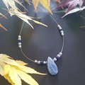 Kyanite, Lapis Lazuli, Freshwater pearls and Sterling silver necklace